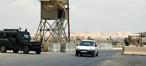Checkpoint before entering Jericho, 2005.